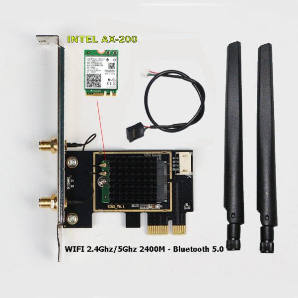 Card WIFI Intel WIFI-6 AX200 khe PCI tích hợp Bluetooth 5.0 có tản nhiệt