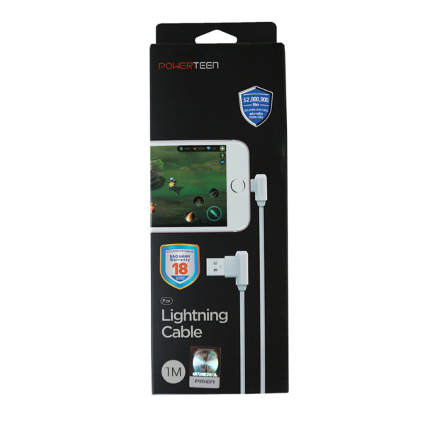 Cáp sạc Pisen Lightning Powerteen chuyên game 100cm - Hàng chính hãng