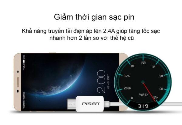 Cáp sạc Pisen USB Type-C 2A 1m - Hàng chính hãng