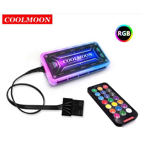 Bộ 3 quạt tản nhiệt cho máy tính Coolmoon V8 led RGB
